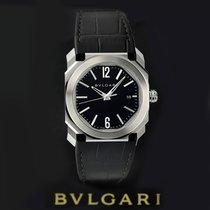 Bulgari Octo pre-owned 38mm Black Date Year Crocodile skin