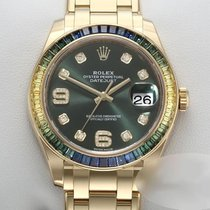 Rolex Pearlmaster Yellow gold 39mm Green No numerals
