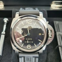Panerai Luminor 1950 8 Days GMT Сталь 44mm Черный Aрабские