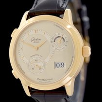 Glashütte Original Yellow gold Automatic Silver No numerals 38.5mm pre-owned PanoMaticVenue