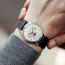 Patek Philippe Perpetual Calendar Or blanc 37.2mm Argent Sans chiffres