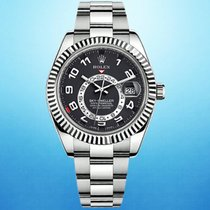 Rolex White gold Automatic Black Roman numerals 42mm pre-owned Sky-Dweller