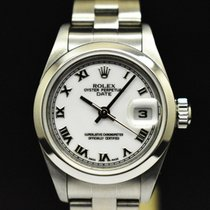 Rolex Oyster Perpetual Lady Date Aço 26mm Branco