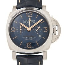Panerai Luminor 1950 8 Days GMT Титан 47mm Синий Aрабские