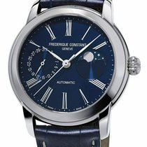 Frederique Constant Steel Automatic Blue Roman numerals 42mm new Classics Moonphase