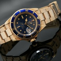 Rolex Yellow gold Automatic Blue No numerals 40mm Submariner Date