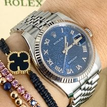 Rolex White gold Automatic Blue 36mm pre-owned Datejust