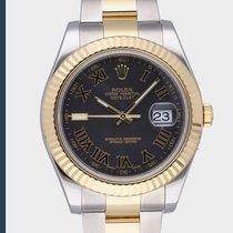 Rolex Datejust II Gold/Stahl 41mm Schwarz Römisch