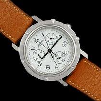 Hermès Clipper używany 38mm Biały Skóra