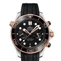 Omega Seamaster Diver 300 M Gold/Steel 44mm Black No numerals