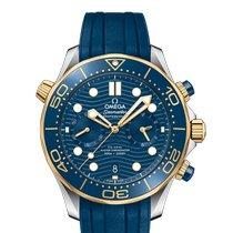 Omega Seamaster Diver 300 M Gold/Steel 44mm Blue No numerals