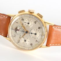 Universal Genève Yellow gold Manual winding Silver Arabic numerals 36mm pre-owned Compax