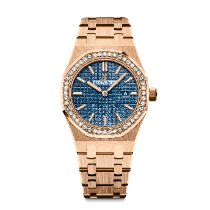 Audemars Piguet Royal Oak Lady Roségold 33mm Blau Keine Ziffern