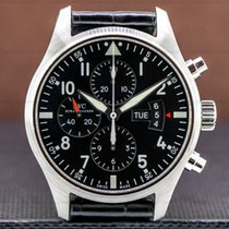 IWC Pilot Chronograph pre-owned 43mm Black Chronograph Date Buckle