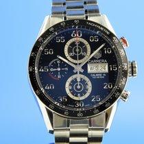 TAG Heuer Carrera Calibre 16 gebraucht 43mm Schwarz Chronograph Datum Wochentagsanzeige Stahl