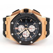 Audemars Piguet Rose gold Automatic Black No numerals 44mm pre-owned Royal Oak Offshore Chronograph