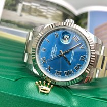 Rolex Datejust Weißgold 41mm Blau Römisch