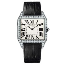 Cartier White gold Quartz Roman numerals 38mm new Santos Dumont