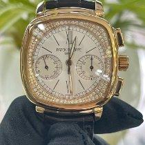 百達翡麗 Chronograph 玫瑰金 35mm 白色 羅馬數字 香港