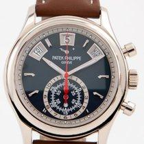 Patek Philippe Annual Calendar Chronograph gebraucht 40mm Blau Flyback-Funktion Jahreskalender Leder
