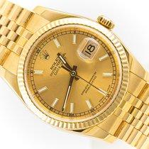 Rolex Żółte złoto Automatyczny Złoty Bez cyfr 36mm używany Datejust