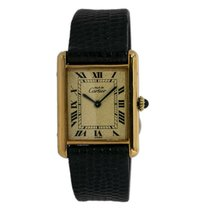 Cartier Silver Manual winding Yellow Roman numerals 24mm pre-owned Tank Vermeil