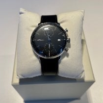 Junghans max bill Chronoscope pre-owned 40mm Black Chronograph Date Leather