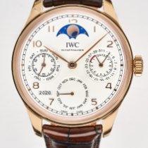 IWC Portuguese Perpetual Calendar pre-owned 44.2mm Silver Moon phase Perpetual calendar Crocodile skin