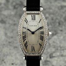 Cartier Tonneau Weißgold 21mm Silber Römisch