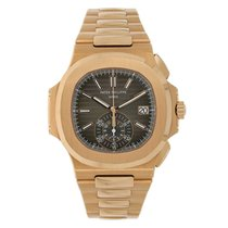 Patek Philippe Nautilus pre-owned 40mm Black Chronograph Date Rose gold