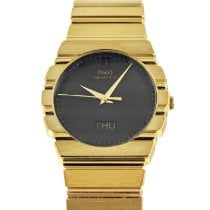 Piaget Polo pre-owned 31mm Black Date Weekday Yellow gold