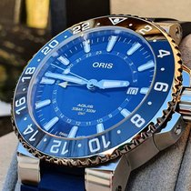 Oris Aquis GMT Date Acier Bleu Sans chiffres