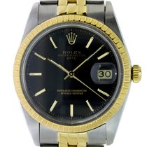 Rolex Oyster Perpetual Date Золото/Cталь 34mm Черный Без цифр