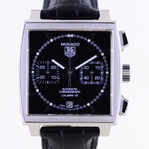 TAG Heuer Monaco Calibre 12 Steel 39mm Black No numerals