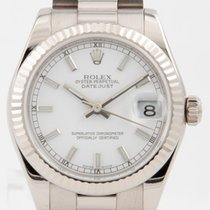 Rolex White gold Automatic White 31mm pre-owned Lady-Datejust