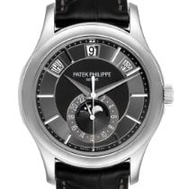 Patek Philippe Annual Calendar pre-owned 40mm Grey Moon phase Date Month Annual calendar Leather