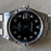 Rolex Oyster Perpetual Date Stal 34mm Czarny Bez cyfr