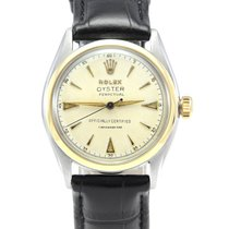 Rolex Bubble Back Acero y oro 34mm Blanco Sin cifras
