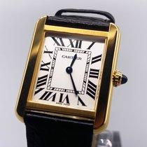 Cartier Yellow gold Quartz Silver Roman numerals 31mm pre-owned Tank Solo