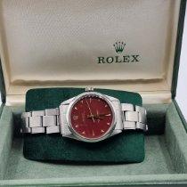 Rolex Oyster Perpetual 34 Stahl 34mm Rot Keine Ziffern Schweiz, Geneve