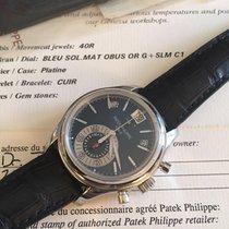 Patek Philippe Annual Calendar Chronograph gebraucht 40.5mm Blau Chronograph Datum Wochentagsanzeige Monatsanzeige Jahreskalender Krokodilleder