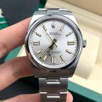 Rolex Oyster Perpetual Stahl 41mm Silber Keine Ziffern