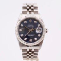 Rolex Datejust Stal 36mm Niebieski Bez cyfr