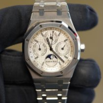 Audemars Piguet Royal Oak Perpetual Calendar pre-owned 41mm Silver Moon phase Perpetual calendar Steel