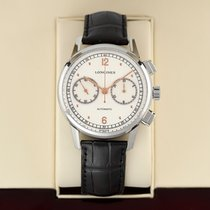 Longines Heritage pre-owned 41mm Silver Chronograph Date Year Crocodile skin