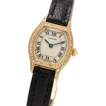 Cartier Tortue Желтое золото 27mm Белый Римские