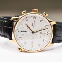 IWC Yellow gold Manual winding White Arabic numerals 41mm pre-owned Portuguese Chronograph