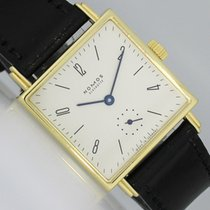 NOMOS Yellow gold Manual winding Silver Arabic numerals 27.5mm pre-owned Tetra 27