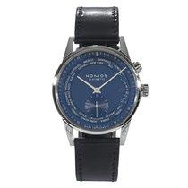 NOMOS Zürich Weltzeit pre-owned Blue Chronograph Perpetual calendar GMT Leather
