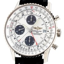 Breitling White gold Automatic White 41mm pre-owned Navitimer GMT
